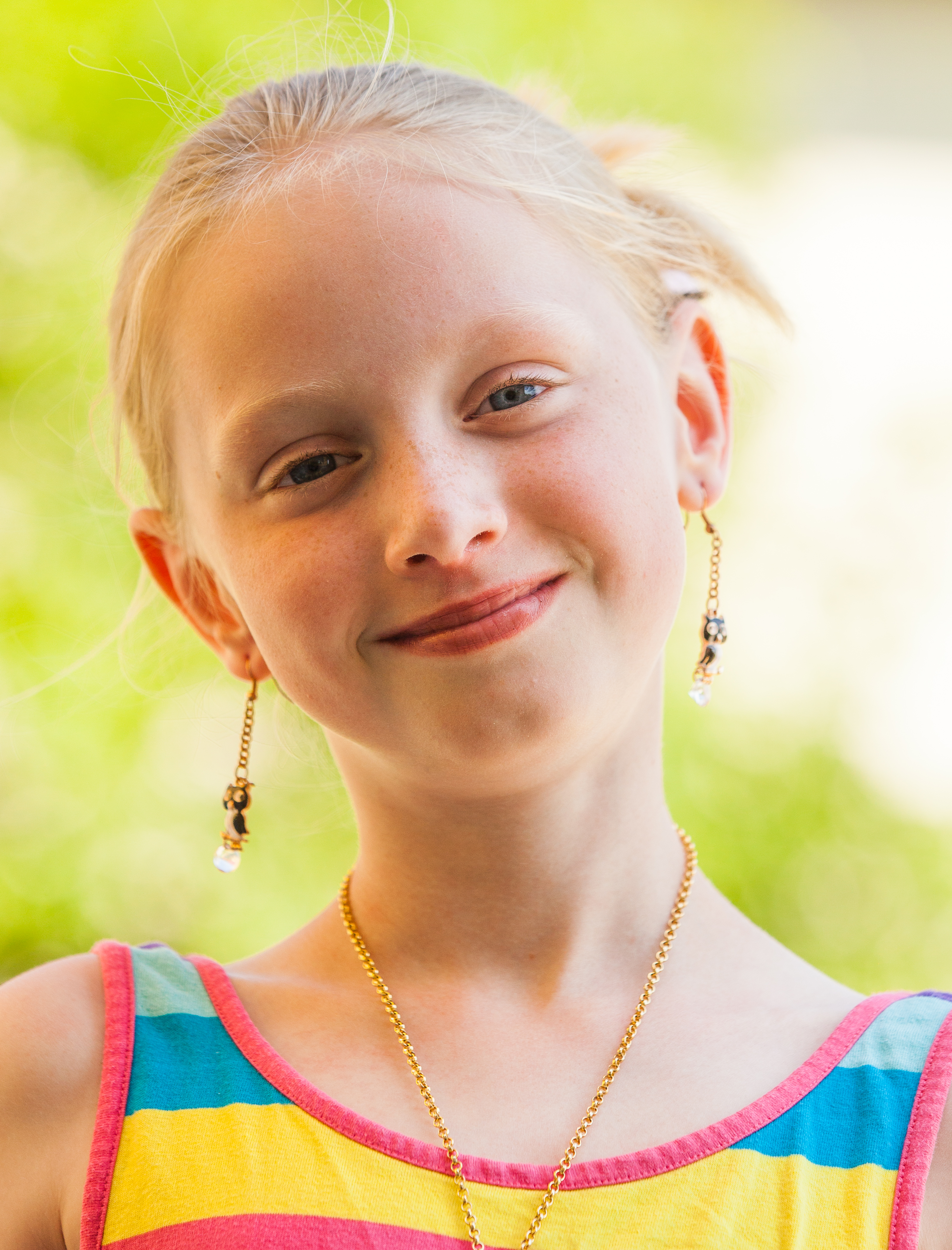 a cute young blond Catholic girl photographed in May 2014, portrait 2/12