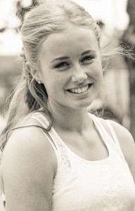 a blond beautiful girl photographed in Sigtuna, Sweden in June 2014, picture 2 out 20, a monochrome version