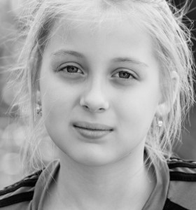 a blond Catholic cutie photographed in May 2014, portrait 10/10, black and white