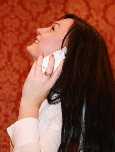 a photoshoot of a long-haired brunette girl talking over a mobile phone, photo 22