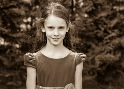 a Christian girl photographed in September 2014, picture 2, black and white