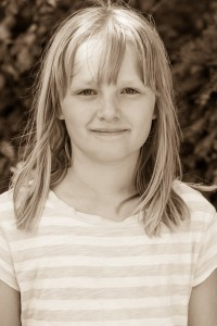 a cute fair-haired girl in Copenhagen, Denmark, in June 2014, picture 10, black and white