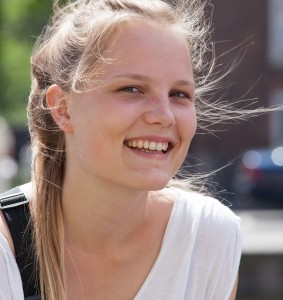 a cute fair-haired girl in Copenhagen, Denmark, in June 2014, picture 19