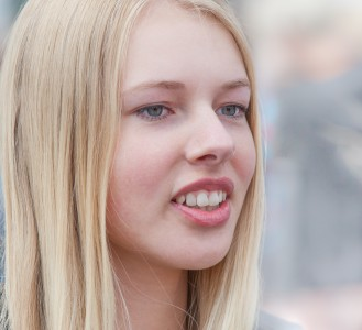 a cute fair-haired girl in Copenhagen, Denmark, in June 2014, picture 67