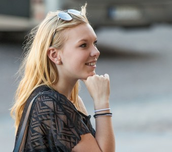 a cute blond girl photographed in Stockholm, Sweden in June 2014, picture 6/26