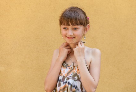 a cute young brunette Roman-Catholic girl photographed in May 2014, portrait 2/6