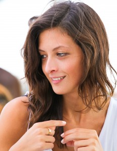 an attractive brunette girl photographed in Italy in August 2013