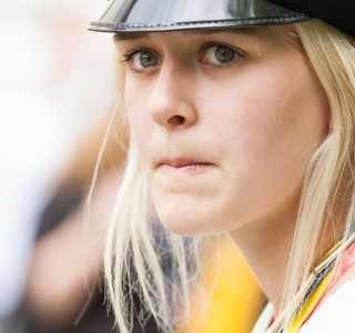 a pretty blond girl photographed in Uppsala, Sweden in June 2014, picture 3/34