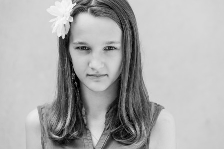 a very photogenic 12-year-old Catholic girl photographed in June 2014, picture 1/4, black and white