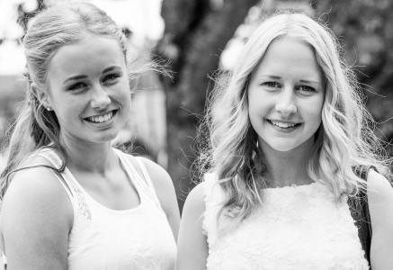 beautiful blond girls in Sigtuna, Sweden in June 2014, picture 4, black and white