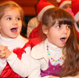 two beautiful cute Catholic girls at st. Nicholas day celebration in a Catholic kindergarten, photo 12