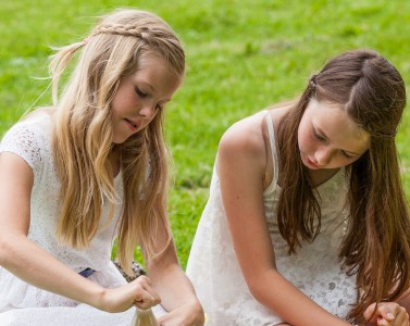 two cute girls in Sigtuna, Sweden in June 2014, picture 1 out 4