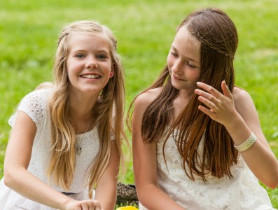 two cute girls in Sigtuna, Sweden in June 2014, picture 3 out 4