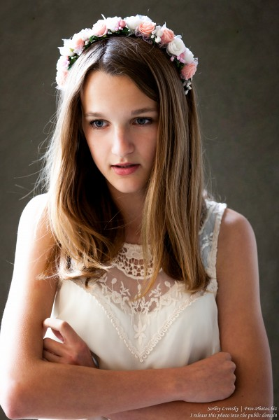 a 13-year-old Catholic girl in a white dress photographed in June 2015, picture 4