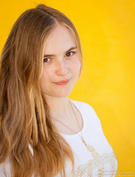 a 14-year old fair-haired girl photographed in June 2015, picture 1