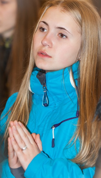 a beautiful blond Catholic girl photographed in December 2014, picture 1