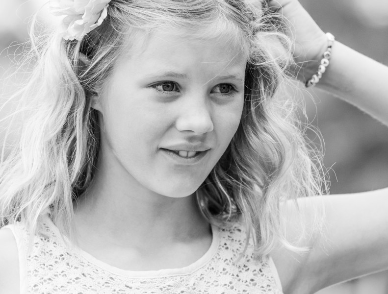 a blond beautiful girl photographed in Sigtuna, Sweden in June 2014, picture 12 out 20, a monochrome version