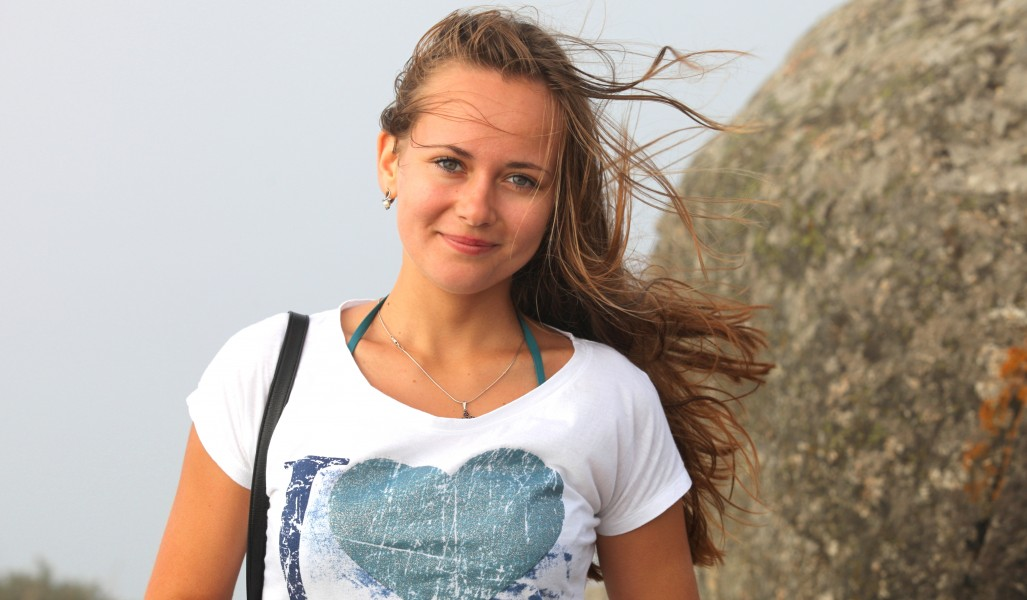 a beautiful girl (a Catholic Christian) in Fisterra, Spain, August 2013, picture 6