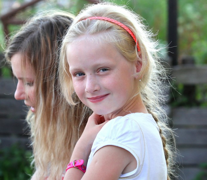 a beautiful young blond charming girl (a Catholic Christian) in a Christian camp in July 2013, picture 5/8