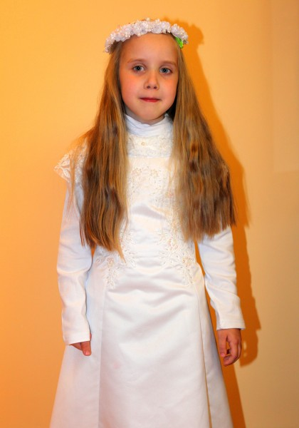 a Catholic girl preparing to her first Holy Communion in May 2013
