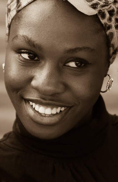 a Catholic Nigerian girl photographed in September 2014, picture 2, black and white