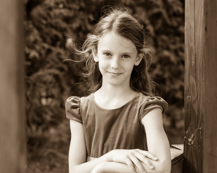 a Christian girl photographed in September 2014, picture 6, black and white