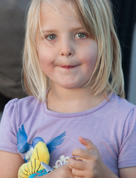 a cute fair-haired child girl in Copenhagen, Denmark, in June 2014, picture 3