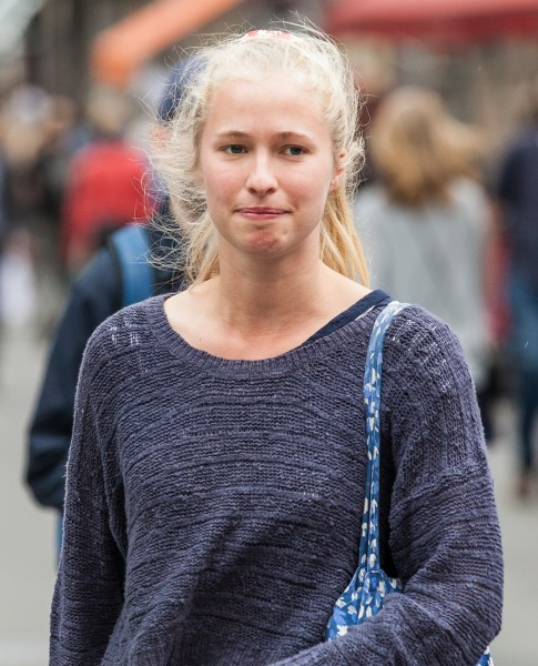 a cute blond girl photographed in Stockholm, Sweden in June 2014, picture 15/26