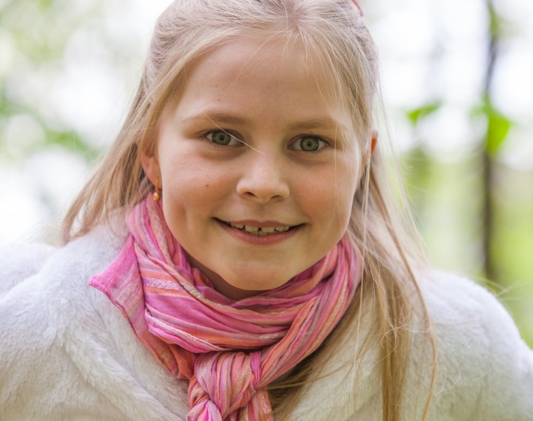 a cute Roman-Catholic blond child girl photographed in April 2014, portrait 16/29