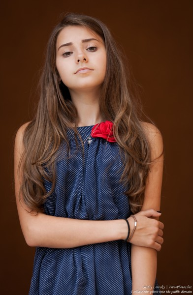 a 14-year-old brunette girl photographed in July 2015, picture 13