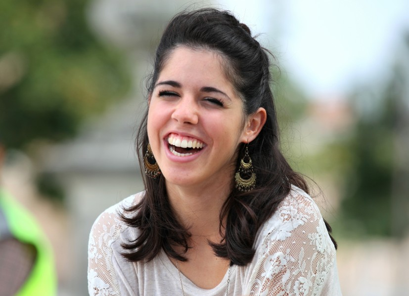 a charming brunette laughing girl photographed in Italy in August 2013, image 3