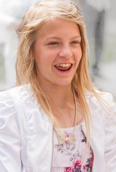 a pretty blond girl photographed in Uppsala, Sweden in June 2014, picture 26/34