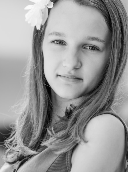 a very photogenic 12-year-old Catholic girl photographed in June 2014, picture 4/4, black and white