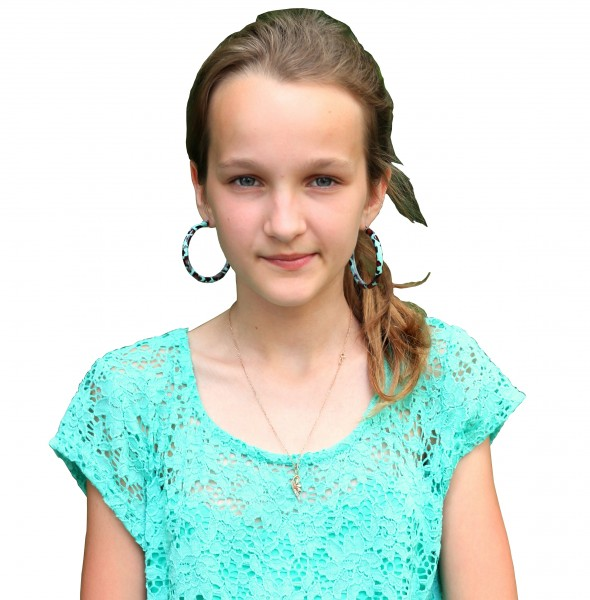 an absolutely beautiful girl with large earrings on a white background, photographed in June 2013, portrait 9/27