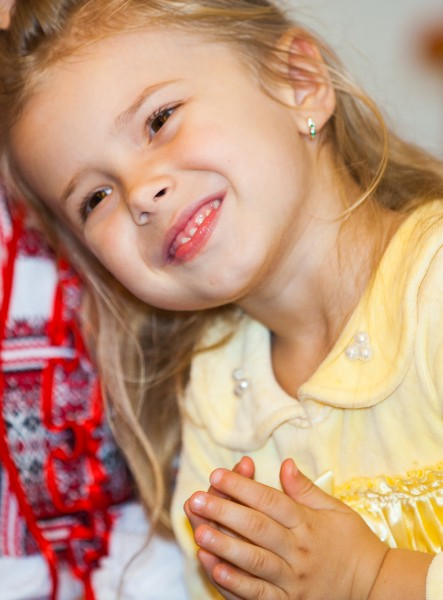 an amazing blond child girl in a Catholic kindergarten photographed in November 2013, picture 4