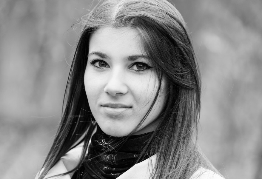 an amazingly attractive brunette Catholic girl photographed in April 2014, picture 15 out of 16, black and white