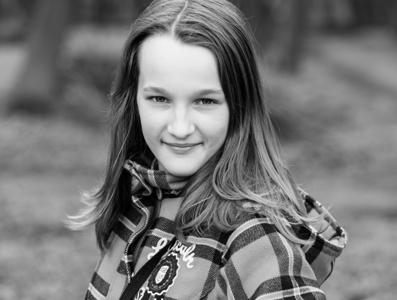 an amazingly beautiful Catholic 12-year-old girl photographed in April 2014, picture 34, black and white