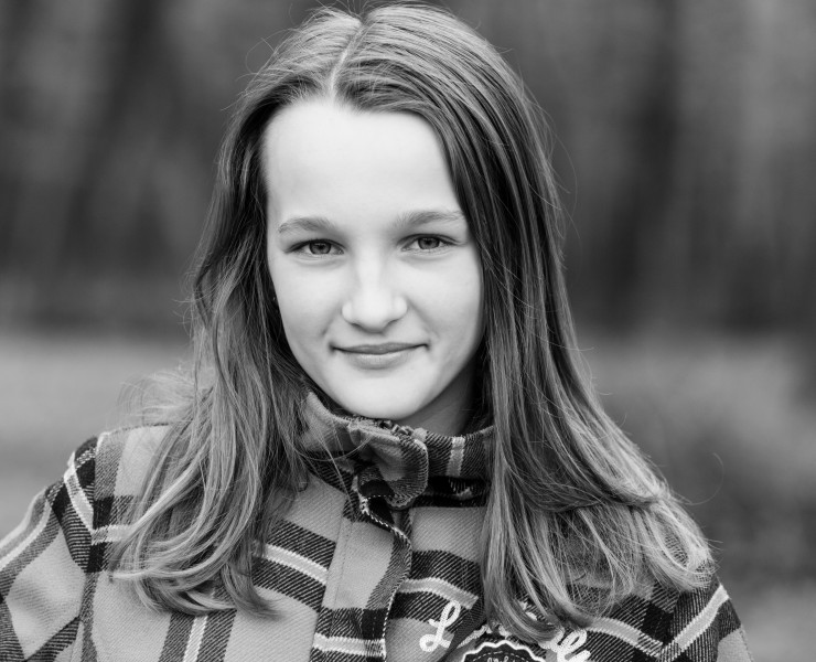 an amazingly beautiful Catholic 12-year-old girl photographed in April 2014, picture 37, black and white