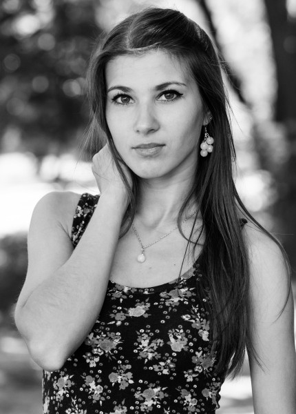 an amazingly beautiful Roman-Catholic girl photographed in May 2014, black and white, picture 7/11