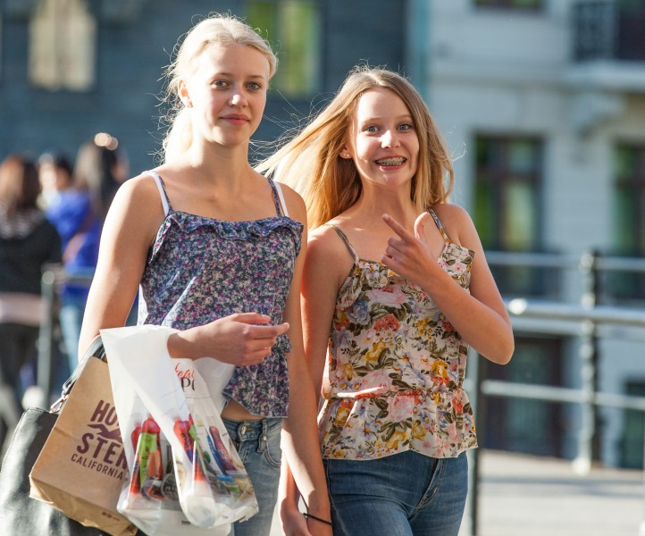 two blond girls photographed in Stockholm, Sweden in June 2014, picture 2