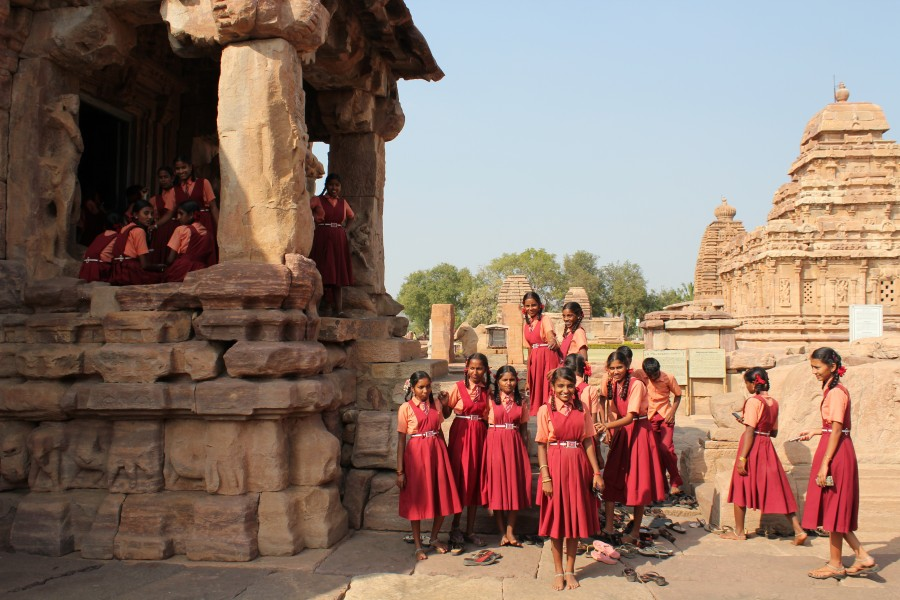 Pattadakal, girls visiting architectural site, school India 2013