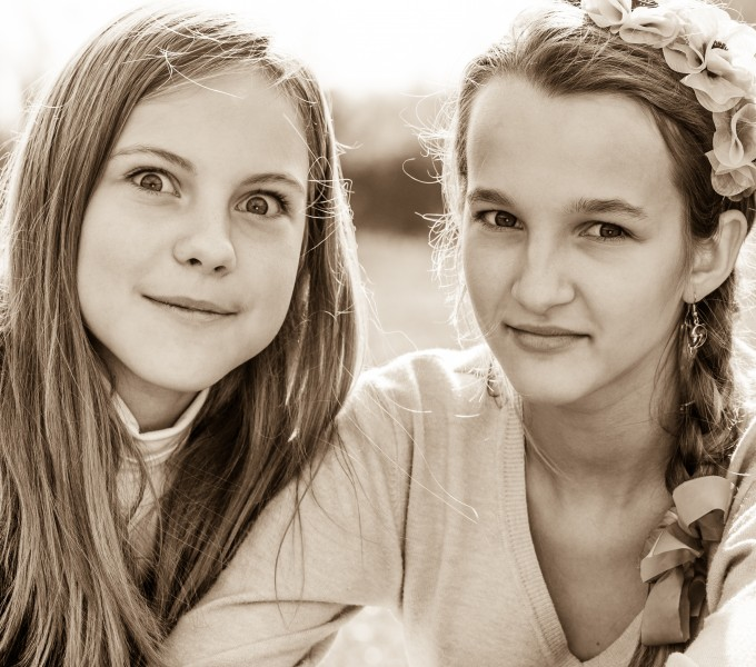 two beautiful Catholic girls photographed in October 2014, picture 6, black and white