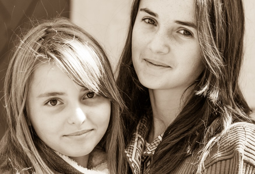 two cute girls photographed in September 2014, photo 2, black and white