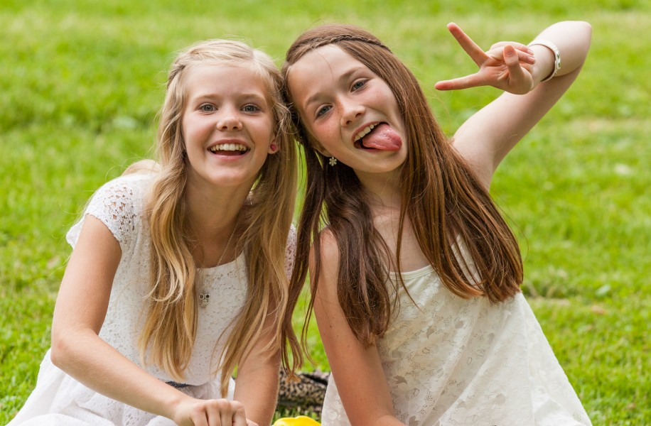 two cute girls in Sigtuna, Sweden in June 2014, picture 2 out 4