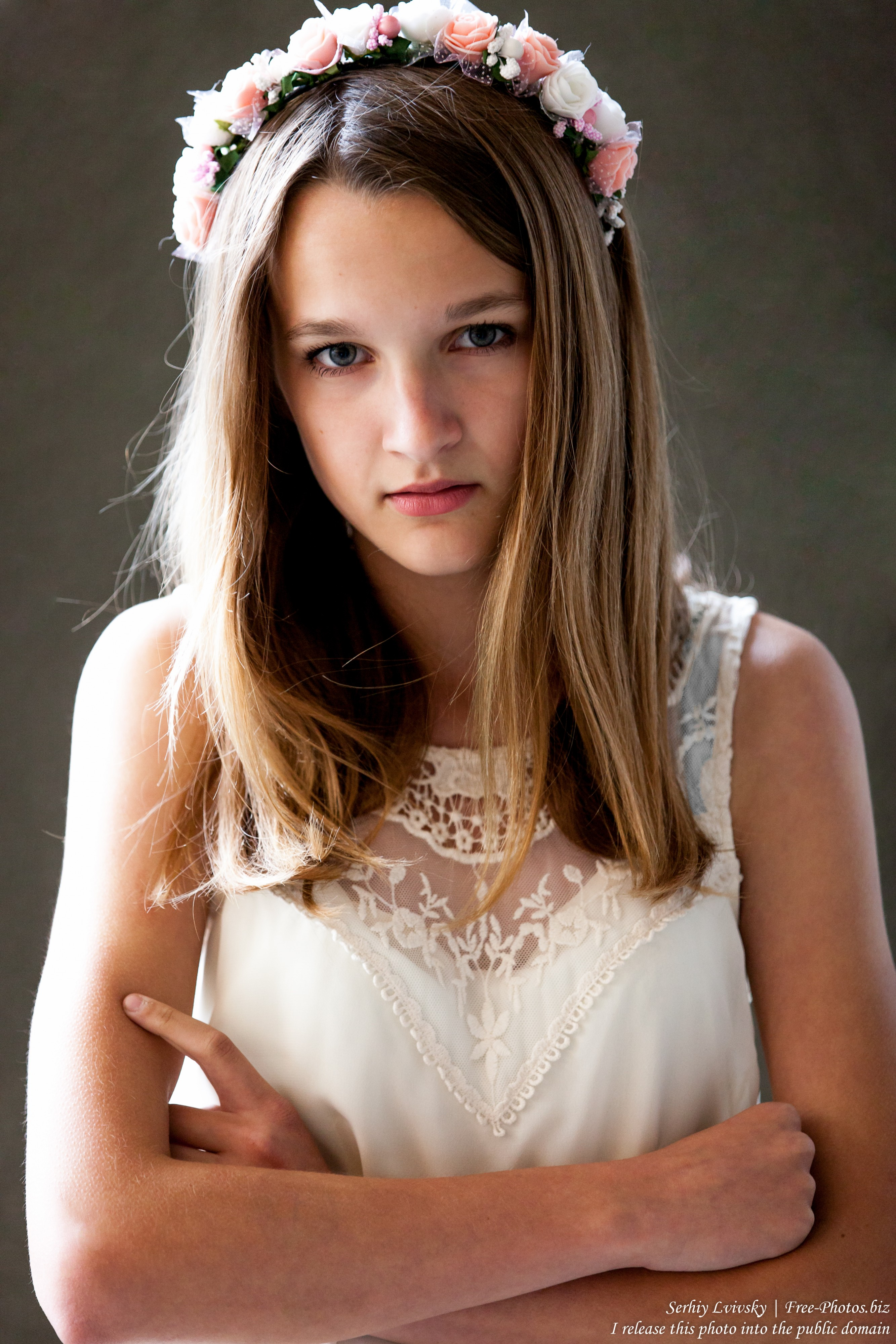 a 13-year-old Catholic girl in a white dress photographed in June 2015, picture 5