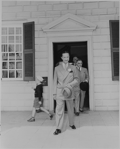 Prince Abdul Ilah of Iraq, walking out the door of George Washington's home at Mt. Vernon, Virginia. - NARA - 199094