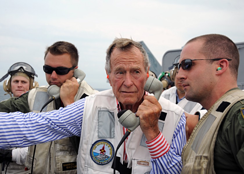 US Navy 100714-N-3885H-208 Former President George H.W. Bush watches flight operations from the landing signal officer's platform