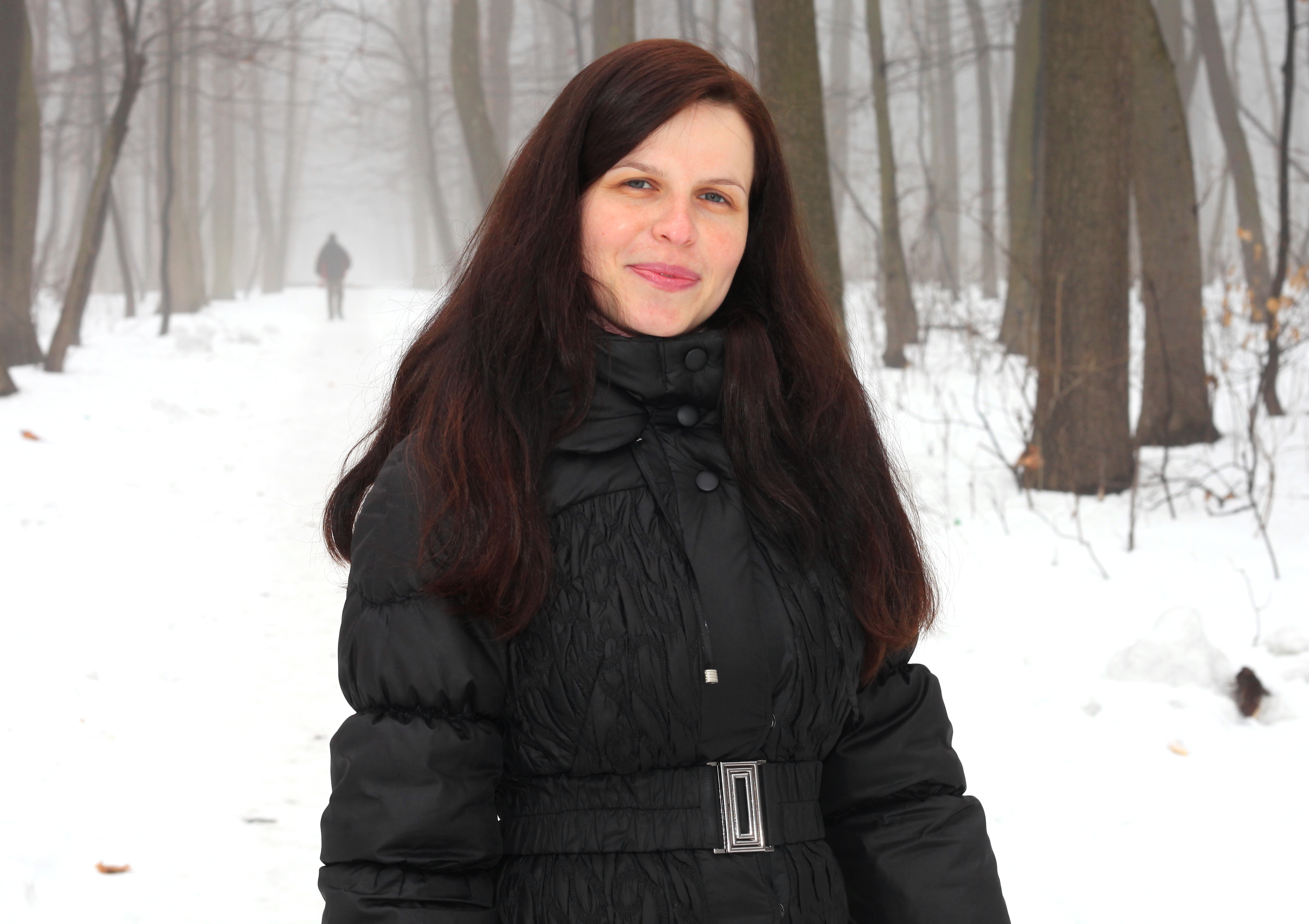 an amazingly beautiful charming Catholic woman with cute lips in a forest, picture 11