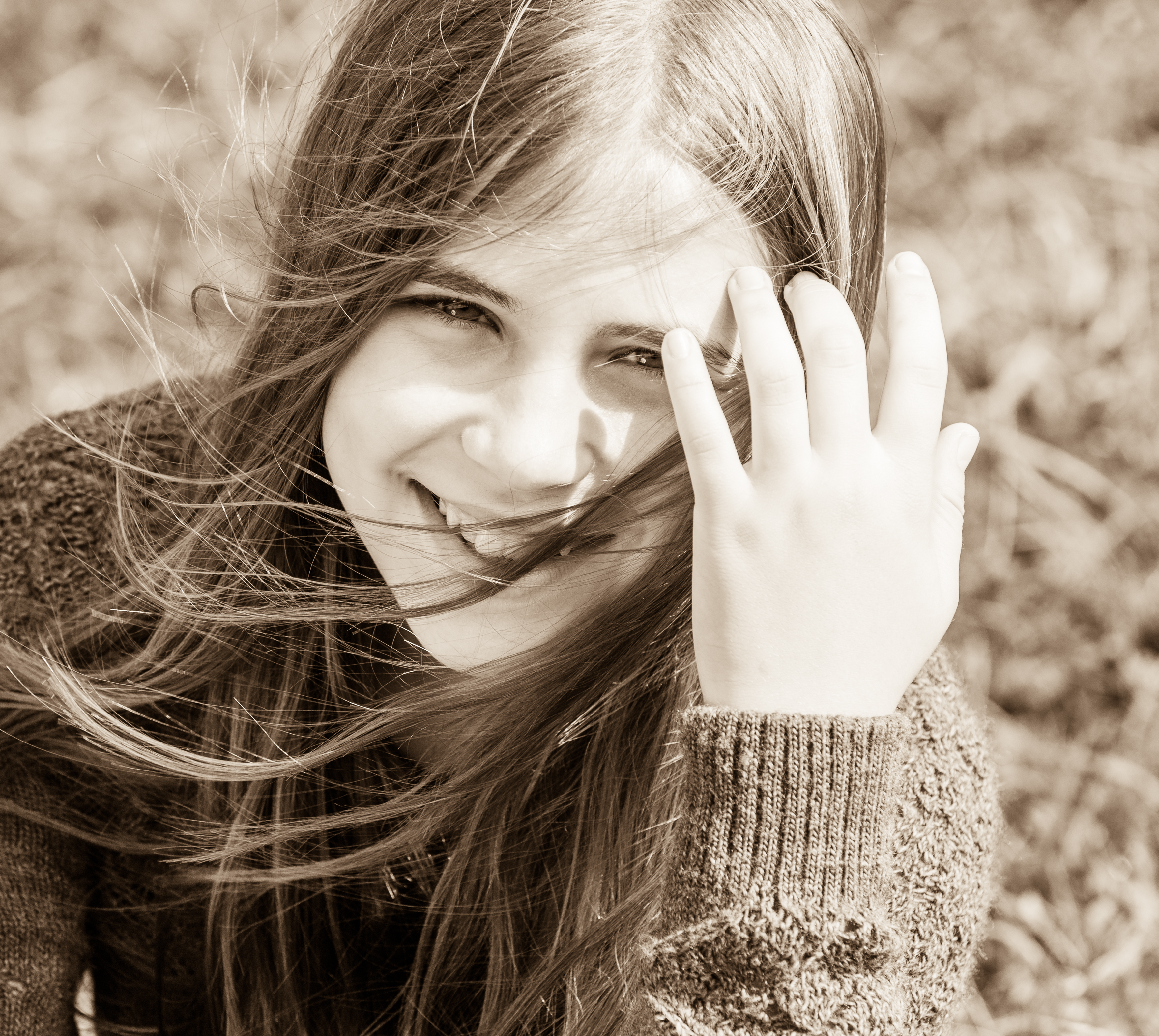 a cute young girl photographed in October 2014, picture 9, black and white