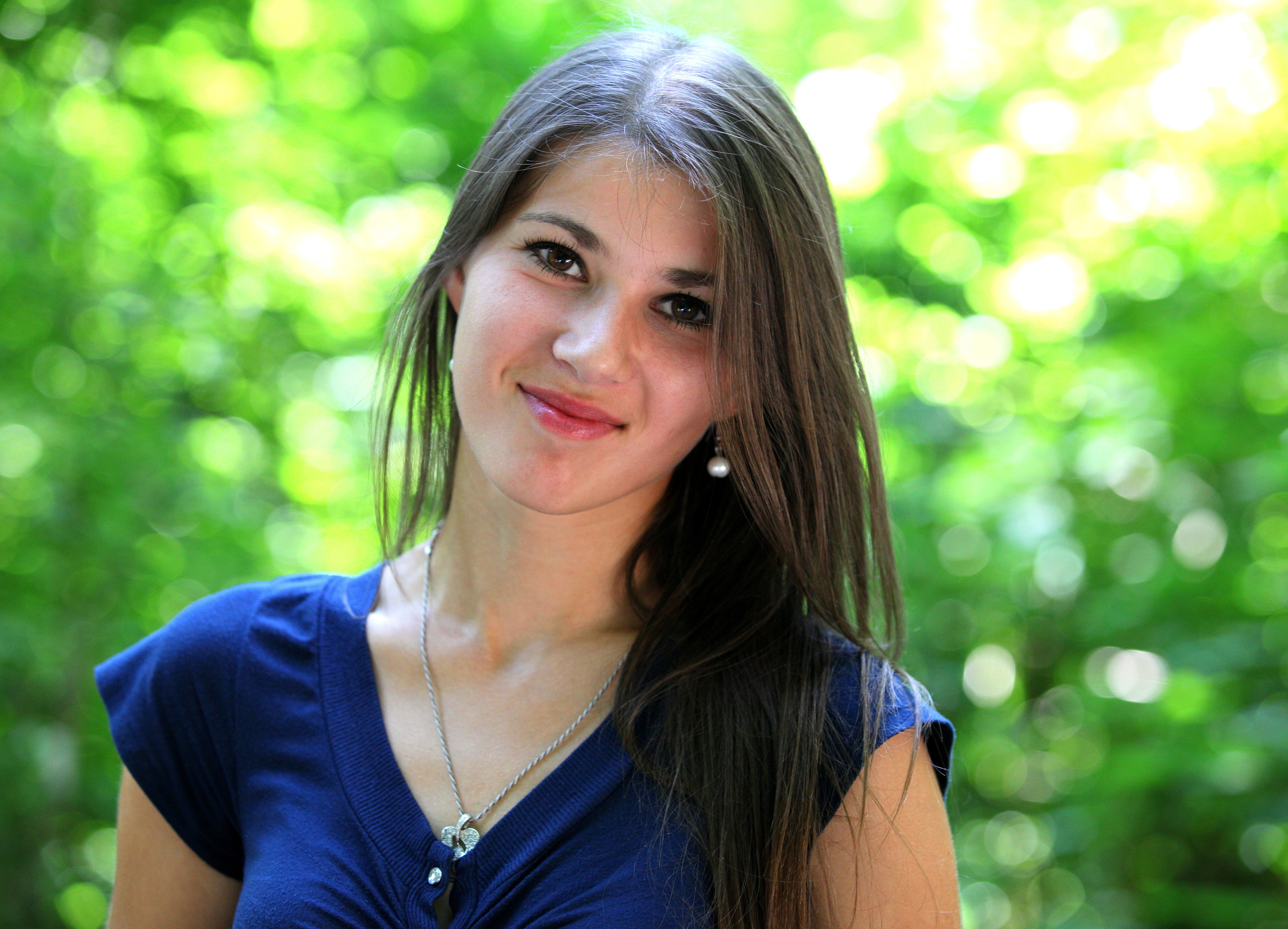 a really attractive brunette girl (a Catholic Christian) photographed in July 2013, portrait 3/15